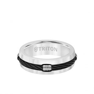 7MM Titanium Ring - Domed Cable Inlay Center and Bevel Edge