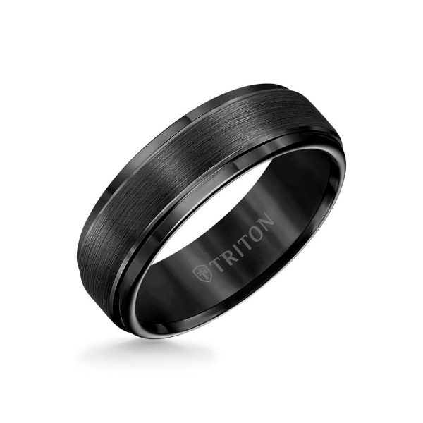 7MM Tungsten Carbide Ring - Brushed Finish and Step Edge11-2097-7