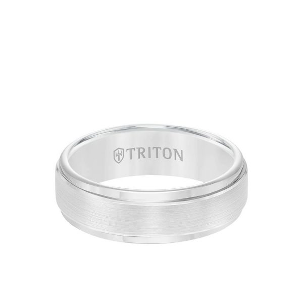 7MM Tungsten Carbide Ring - Brushed Finish and Step Edge 11-2097-7