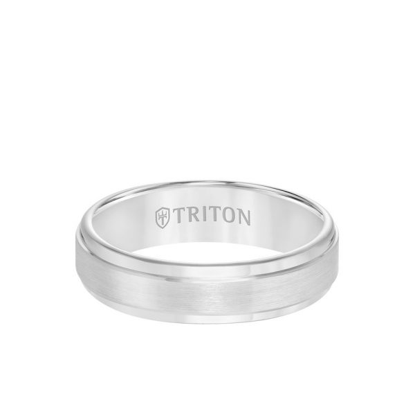 6MM Tungsten Carbide Ring - Satin Finish Center and Step Edge - 11-2133-6