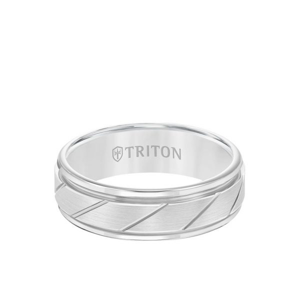 7MM Tungsten Carbide Ring - Diagonal Cut Center and Round Edge