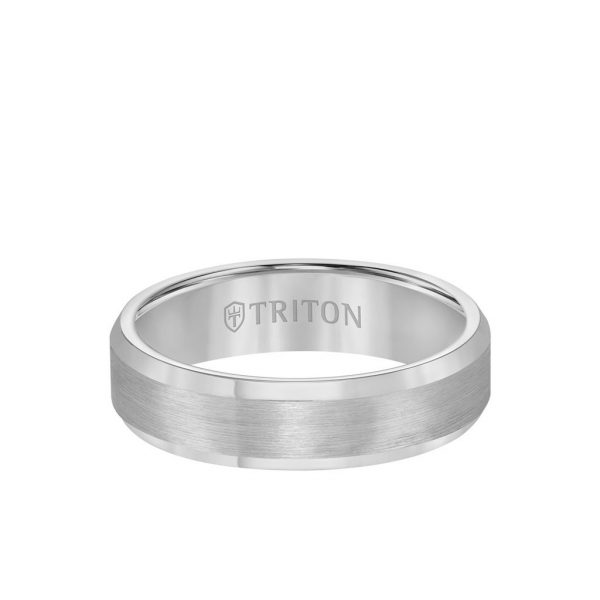 6MM Tungsten Carbide Ring - Satin Center and Bevel Edge11-2233-6