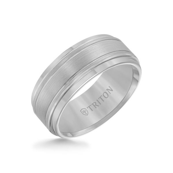 9MM Tungsten Carbide Ring - Bright Cut Parrelel Lines Satin Center and Step Edge 11-2247-9