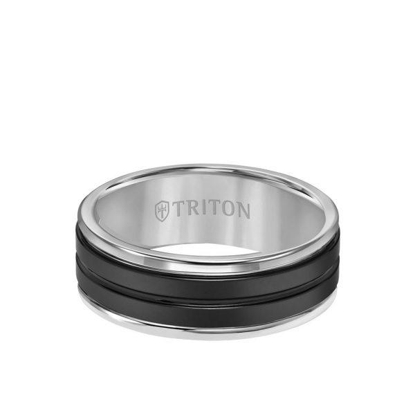 8MM Black Ceramic Ring with Tungsten Round Edge