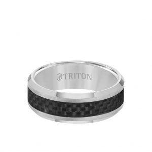 8MM Ring - Black Carbon Fiber Center and Bevel Edge