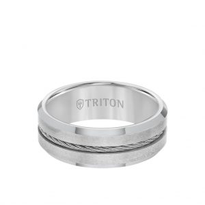 8MM Tungsten Carbide Ring - Steel Cable Center and Bevel Edge -11-3289-8