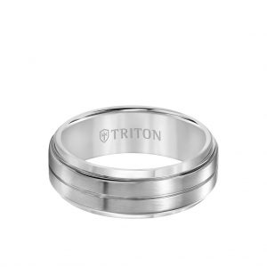 8MM Titanium Ring - Horizontal Center Cut and Step Edge