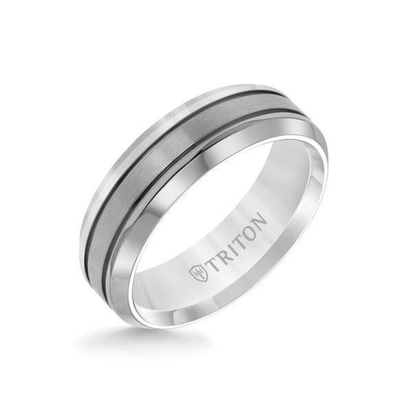 7MM Titanium Ring - Brushed Center and Round Edge
