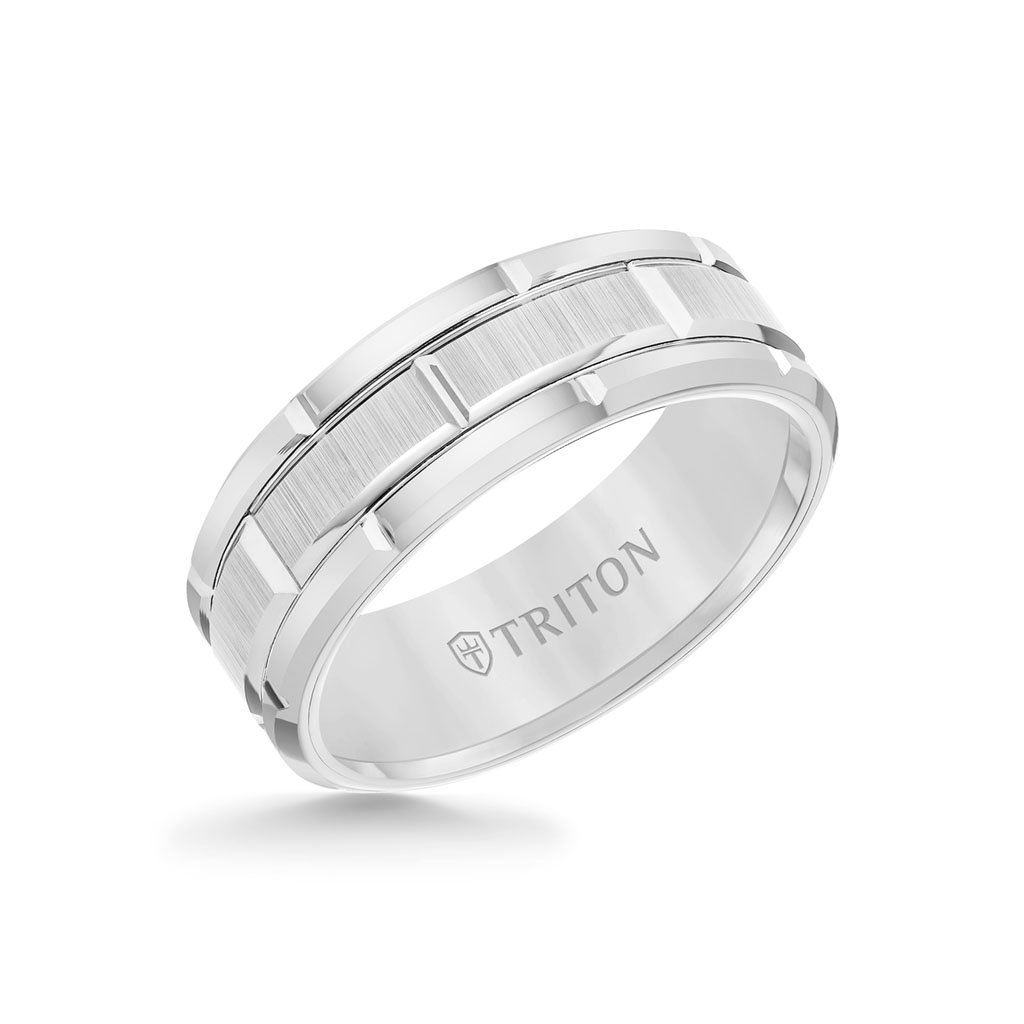 It is a photo of 41MM Tungsten Carbide Ring - Brick Pattern Center and Flat Edge
