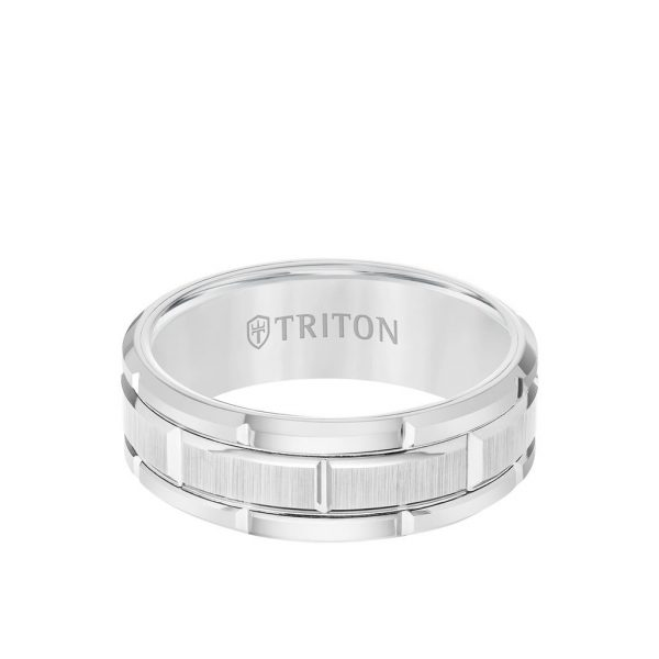 8MM Tungsten Carbide Ring - Brick Pattern Center and Flat Edge - 11-4127-8
