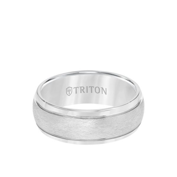 8MM Tungsten Carbide Ring - Domed Wire Brush Center and Flat Edge - 11-4129-8