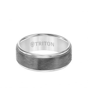 8MM Tungsten Carbide Ring - Gunmetal Crystalline Center and Step Edge - 11-5982-8