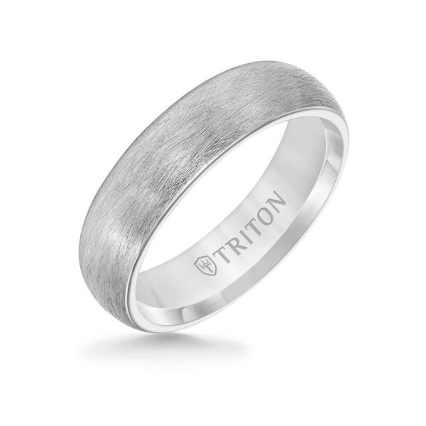 6MM Tungsten Carbide Ring - Crystalline Finish and Rolled Edge 11-6054-6