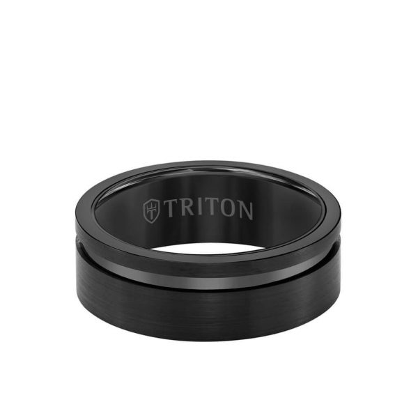 Triton: 8MM Tungsten Carbide Ring - Satin Finish and Asymmetrical Channel