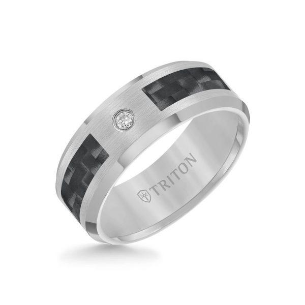 8MM Single Diamond Black Carbon Fiber Ring With Bevel Edge