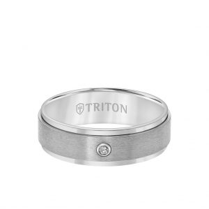 7MM Titanium Ring - Solitaire Satin Finish and Step Edge