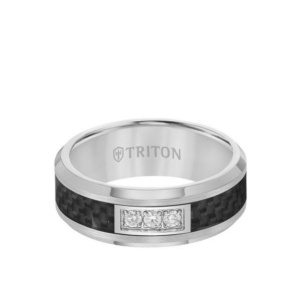 8MM 3 Stone Diamond Black Carbon Fiber Ring with Bevel Edge