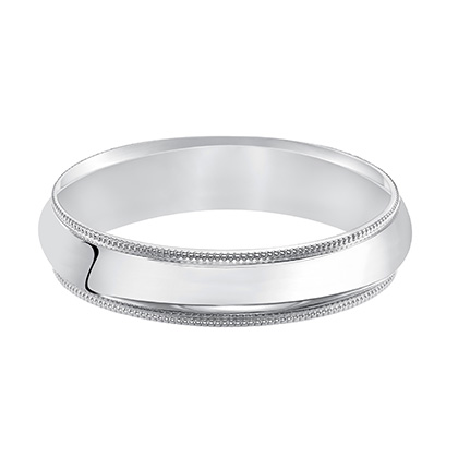 This handsome low-dome, band features a high polished finish with delicate milgrain detailing for a traditional look
