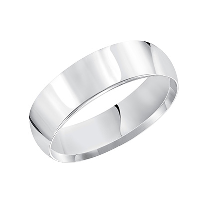 This timeless yet luxuriously domed, Comfort Fit, wedding band features a high polished finish.