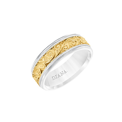 Two-toned wedding band with detailed engraving