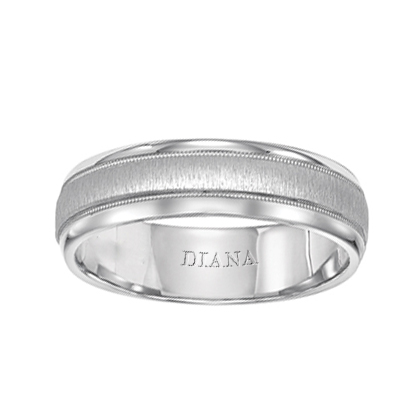 Comfort Fit Wedding Band with Vertical finish and milgrain detail