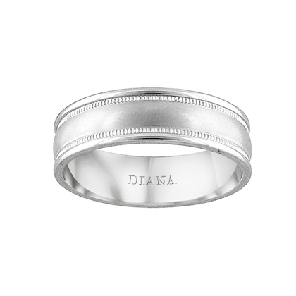 Comfort Fit Wedding Band with Brush Finish and milgrain detail