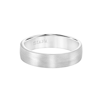 Comfort Fit Wedding Band with brush finish and rolled edge