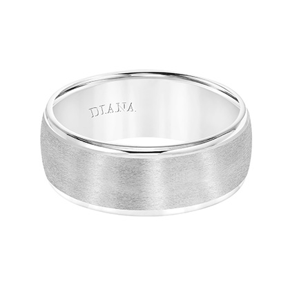 Comfort Fit wedding band with rolled edge and brushed finish