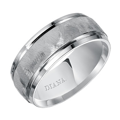 Comfort Fit Engraved Wedding Band with textured finish