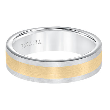 Men's wedding band with seamless two tone satin finish with flat profile