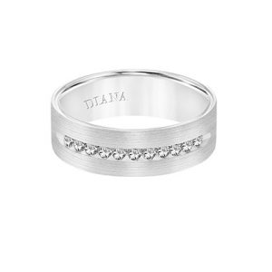 Comfort Fit Engraved Wedding Band with diamond detail