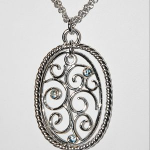 Frederic Duclos - SS OVAL BLUE TOPAZ PENDANT