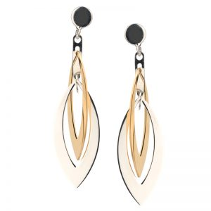 Frederic Duclos - E884 STERLING SILVER AND YELLOW GOLD PLATED LAYERS MARQUIS EARRINGS